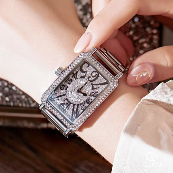 2019 Top Luxury Ladies Watch Women Fashion Rose Gold Quartz Dress Watch New Rhinestone Square Casual Women Watches reloj mujer