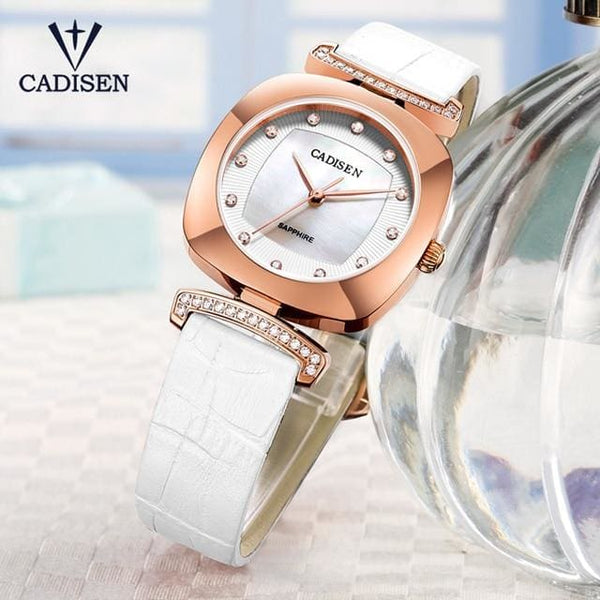 2019 Women Watch CADISEN Luxury Brand Genuine Leather Quartz Watch Lady Watches Sapphire Srystal Dial Relogio Feminino Girl gift