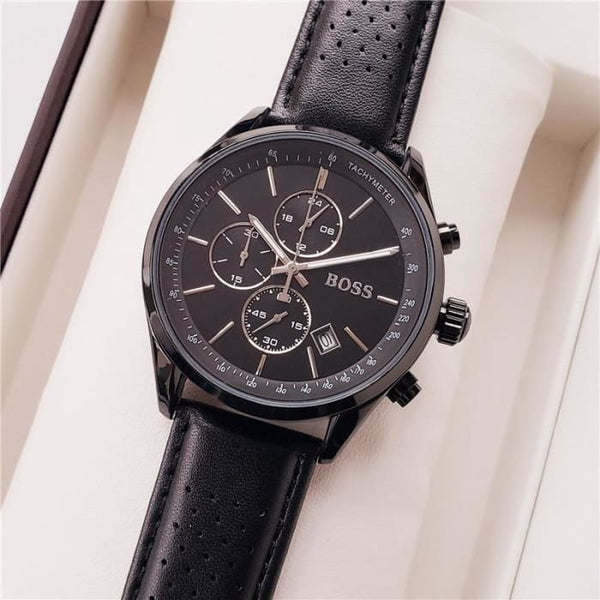 All Dials Work Boss Luxury Men Watches Montre Homme Fashion Leather Quartz Watch Men Dress Business Male Clock Reloj Hombre