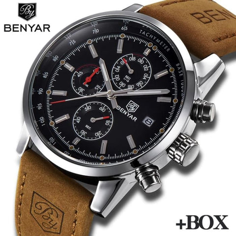 BENYAR Luxury Brand men watches stainless steel Chronograph Watch waterproof Casual Business Quartz Wrist Watch men Reloj Hombre