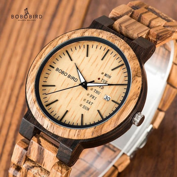 BOBO BIRD Wood Watch Men relogio masculino Week and Date Display Timepieces Casual Wooden Clock Boyfriend Best Gift V-O26