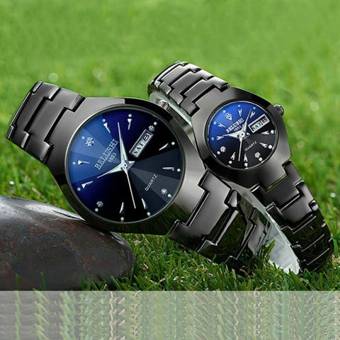Couple Watches 2019 Top Quality Tungsten Steel Black Wrist Watch for Men and Women Bracelet Female Watch Reloj Hombre Lover Saat