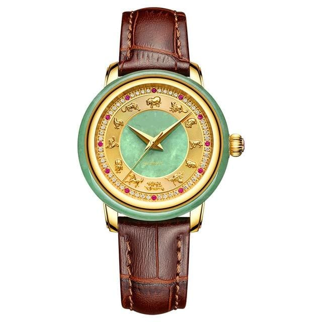 edge of jade jade table 12 zodiac set auger hollow-out the tourbillon jadeite jade mechanical watches for men and women