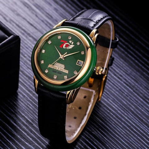 Genuine yuyuanda National Day gift military watch natural Hetian Jade Jadeite quartz watch new popular for men and women