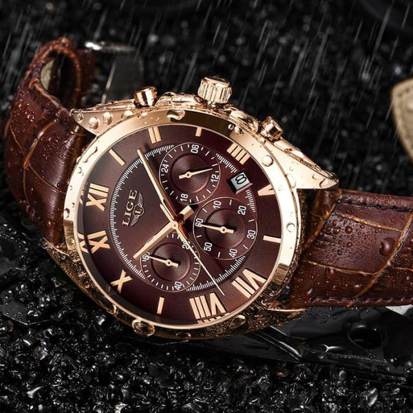LIGE Watch For Men Top Brand Luxury Waterproof 24 Hour Date Quartz Clock Brown Leather Sports WristWatch Relogio Masculino 2019