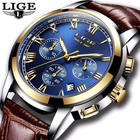 LIGE Watches Men Sports Waterproof Date Analogue Quartz Mens Watches Chronograph Business Watches For Men Relogio Masculino+Box