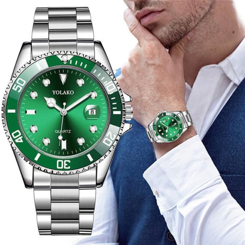 Mens Watch New Luxury Business Watch Men Waterproof Date Green Dial Watches Fashion Male Clock Wrist Watch Relogio Masculino