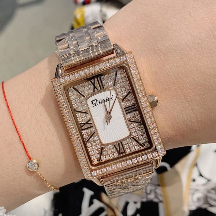 New Rectang Gypsophila Diamond Women Watches Elegant Lady Casual Quartz Watch Women Stainless Steel Woman Watch dames horloges