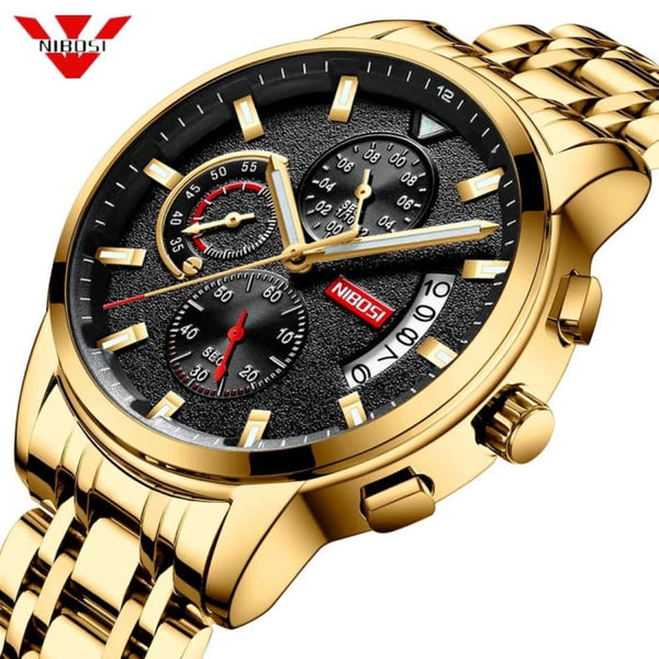 NIBOSI 2019 New Brand Quartz Watch Men Sport Watches Men Steel Band Military Clock Waterproof Gold Wrist Watch Relogio Masculino