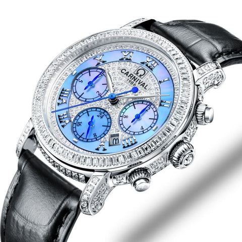 Switzerland Watches Carnival Luxury Brand Full Diamond Watch Women Japan MIYOTA Automatic Mechanical Sapphire Clock C86905-5
