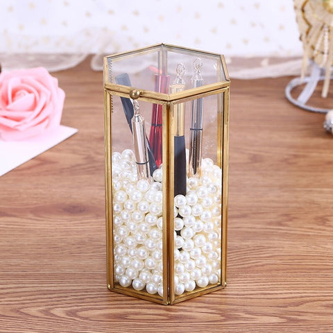 Pure Copper Gold European Six-Sided Clamshell Geometric Glass Flower Room Glass Makeup Brush Dressing Table Storage Box