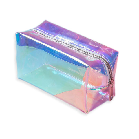 trousse de maquillage holographique transparente