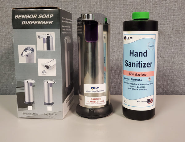 Touchless Dispenser - 8-OZ Capacity + 16-OZ GEL type Hand Sanitizer in One Box