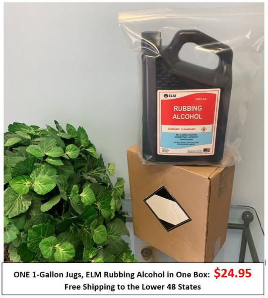ONE 1-Gallon Jug: ELM Rubbing Alcohol in One Box Direct from Manufacturer - Free Shipping