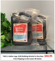 TWO 1-Gallon Jugs: ELM Rubbing Alcohol in One Box Direct from Manufacturer - Free Shipping