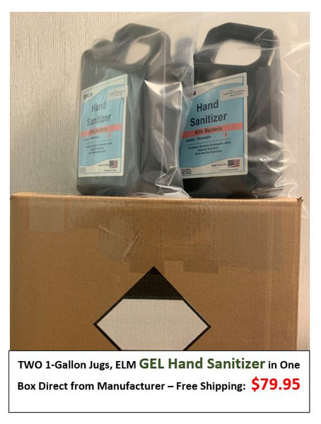 TWO 1-Gallon Jugs GEL type Hand Sanitizer in One Box Direct from Manufacturer - Free Shipping