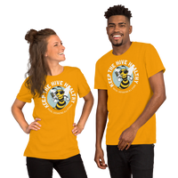 Keep the Hive Healthy Bee | Gold Unisex T-Shirt - Loosetooth.com