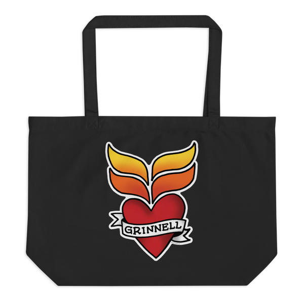 Grinnell Tattoo | Large organic tote bag - Loosetooth.com