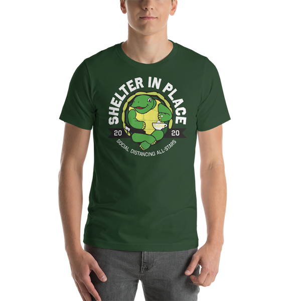 Shelter In Place Turtle | Green Colors Unisex T-Shirt - Loosetooth.com