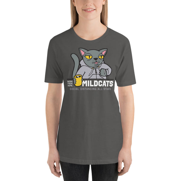 Work from Home Mildcats | Gray & Black Colors Unisex T-Shirt - Loosetooth.com