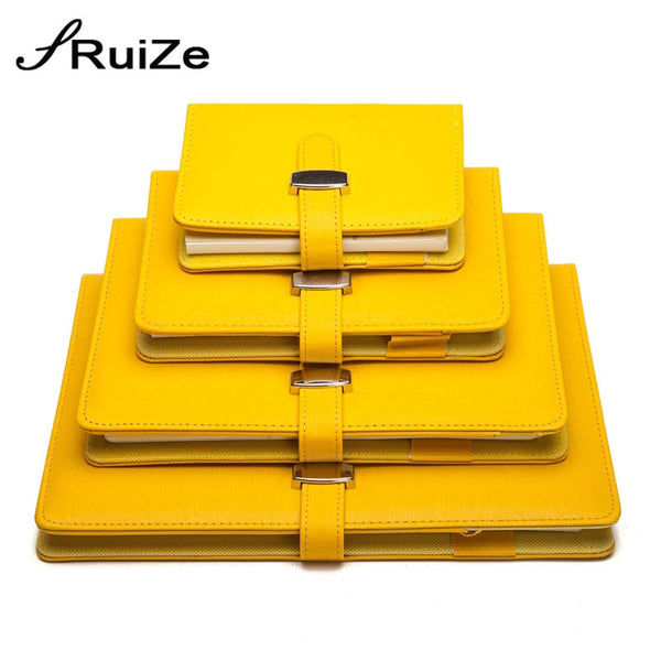 RuiZe creative leather spiral notebook A5 A6 A7 B5 big note book ring binder planner organizer agenda notepad office supplies - Loosetooth.com