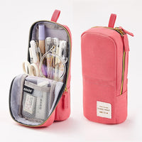 Solid Color Pencil Bag Big Capacity Stationery Pens Organizer Pen Case Standing Pen Holder Desk Case Zipper Pencil Pouch Gift - Loosetooth.com