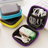 Portable Mini Electronic Bag Zipper Headphones Box In-ear Earphone Cases EVA Square Earbuds Headset Carry Digital Bag - Loosetooth.com