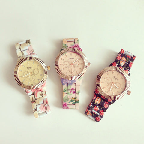 Beautiful Floral Metal Watch