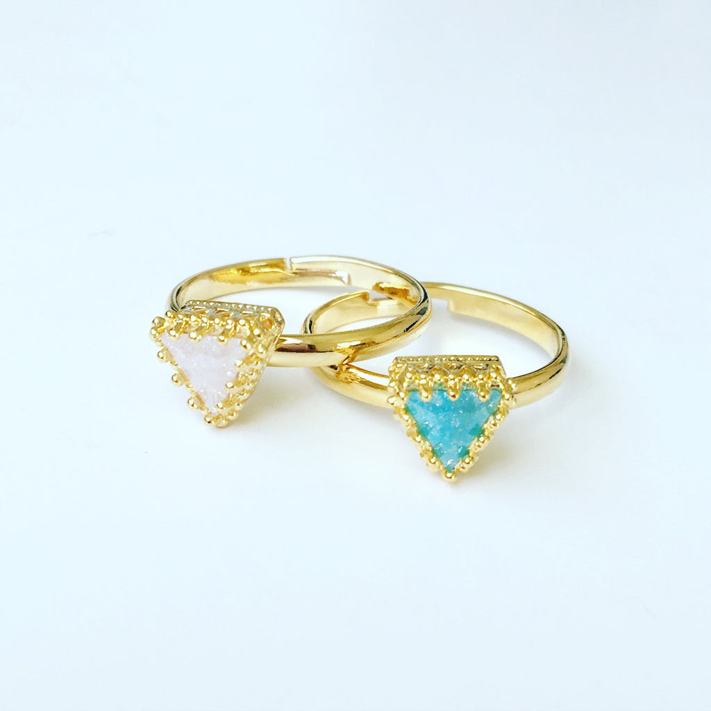 Pastel Triangle Stone Ring