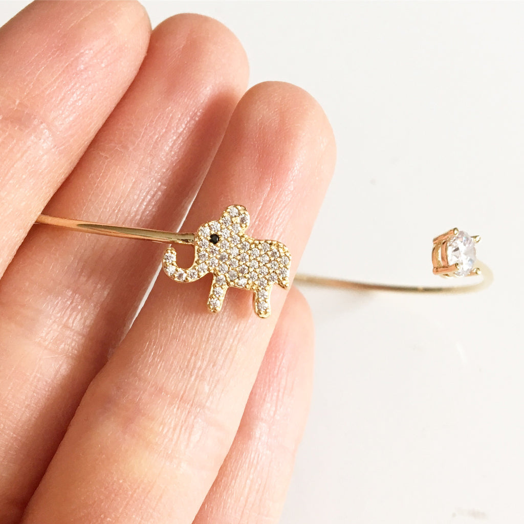 Elephant Rhinestone Bangle