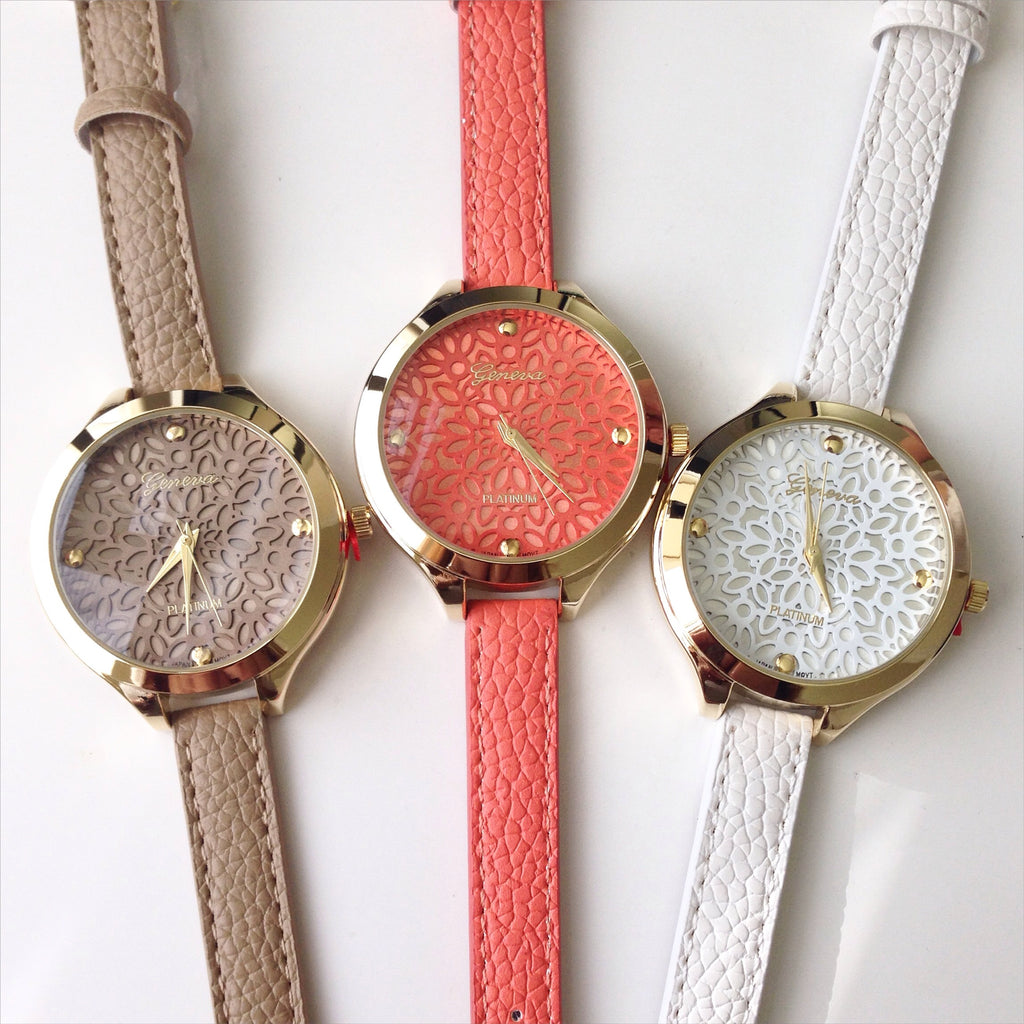 Floral Dial with Thin Leather Strap Watch