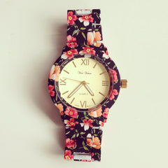 Floral Black Metal Watch