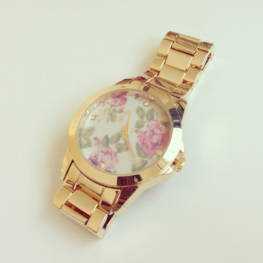 Floral Rose Metal Watch