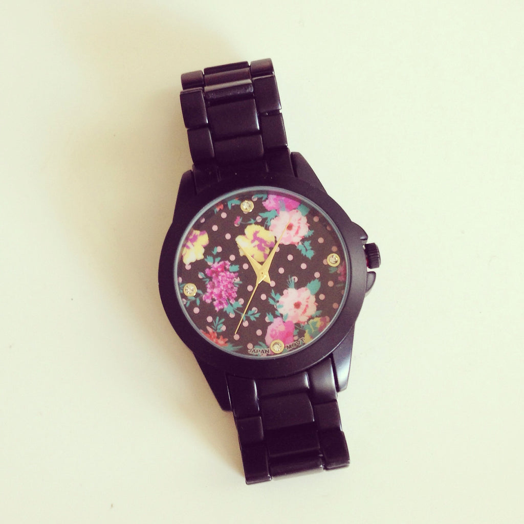 Floral Love Black Metal Watch