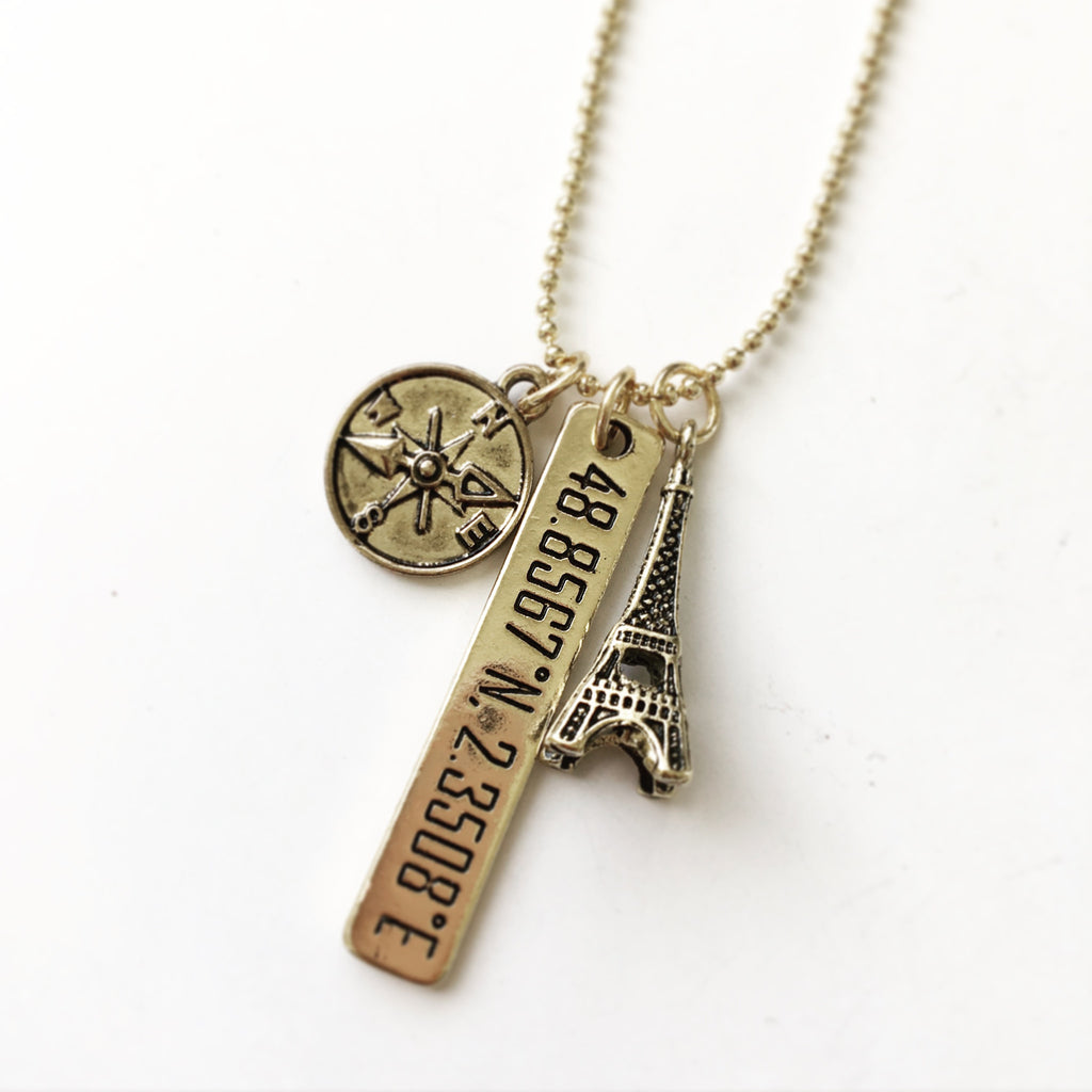 Effiel Tower with Compass Charm Long Necklace