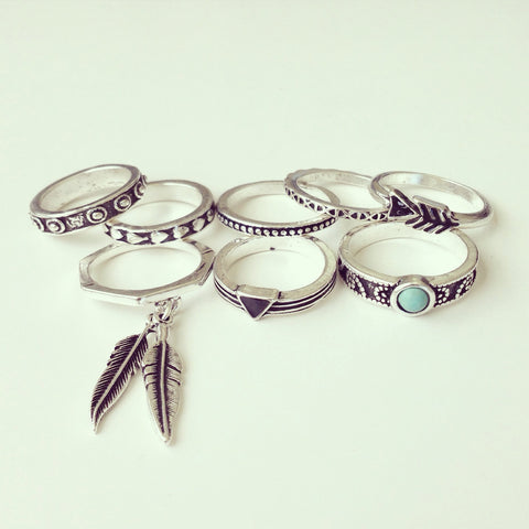 Antique Feather Ring Set