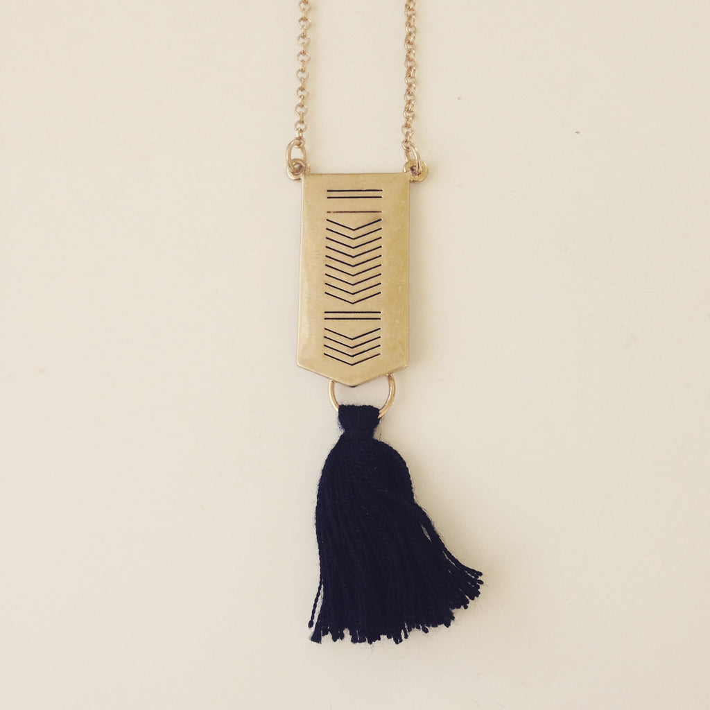 Rectangle with Black Tassel Long Necklace