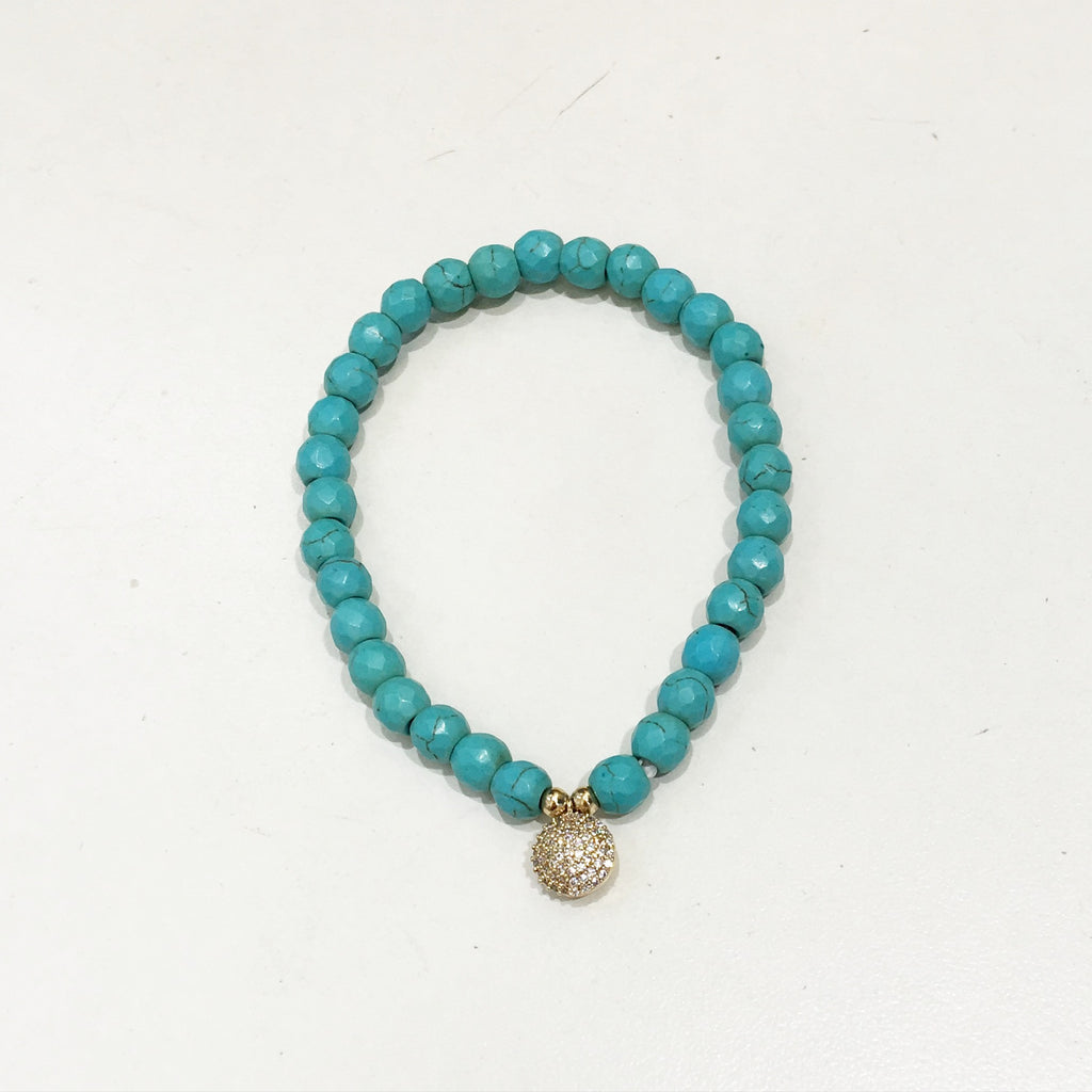 Turquoise Bead and Circle Charm Bracelet