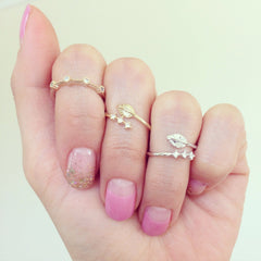 Four Rhinestone Knuckle Ring