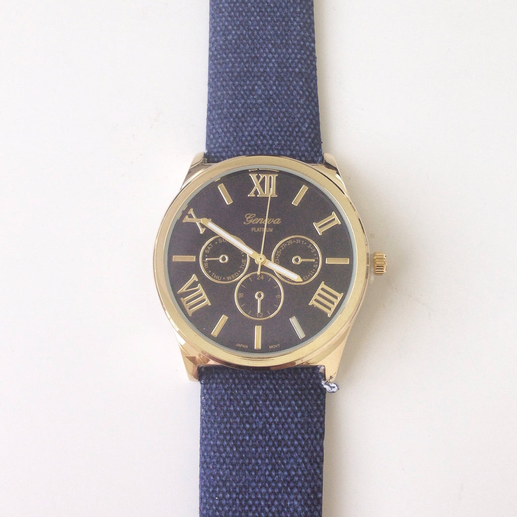 Oversized Three Eyes Denim Watch
