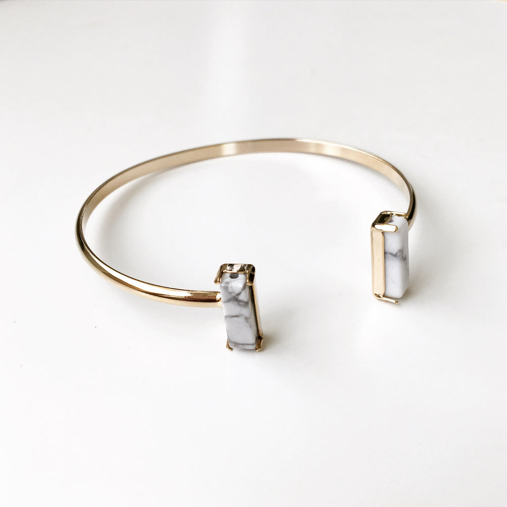 Double T White Stone Bangle