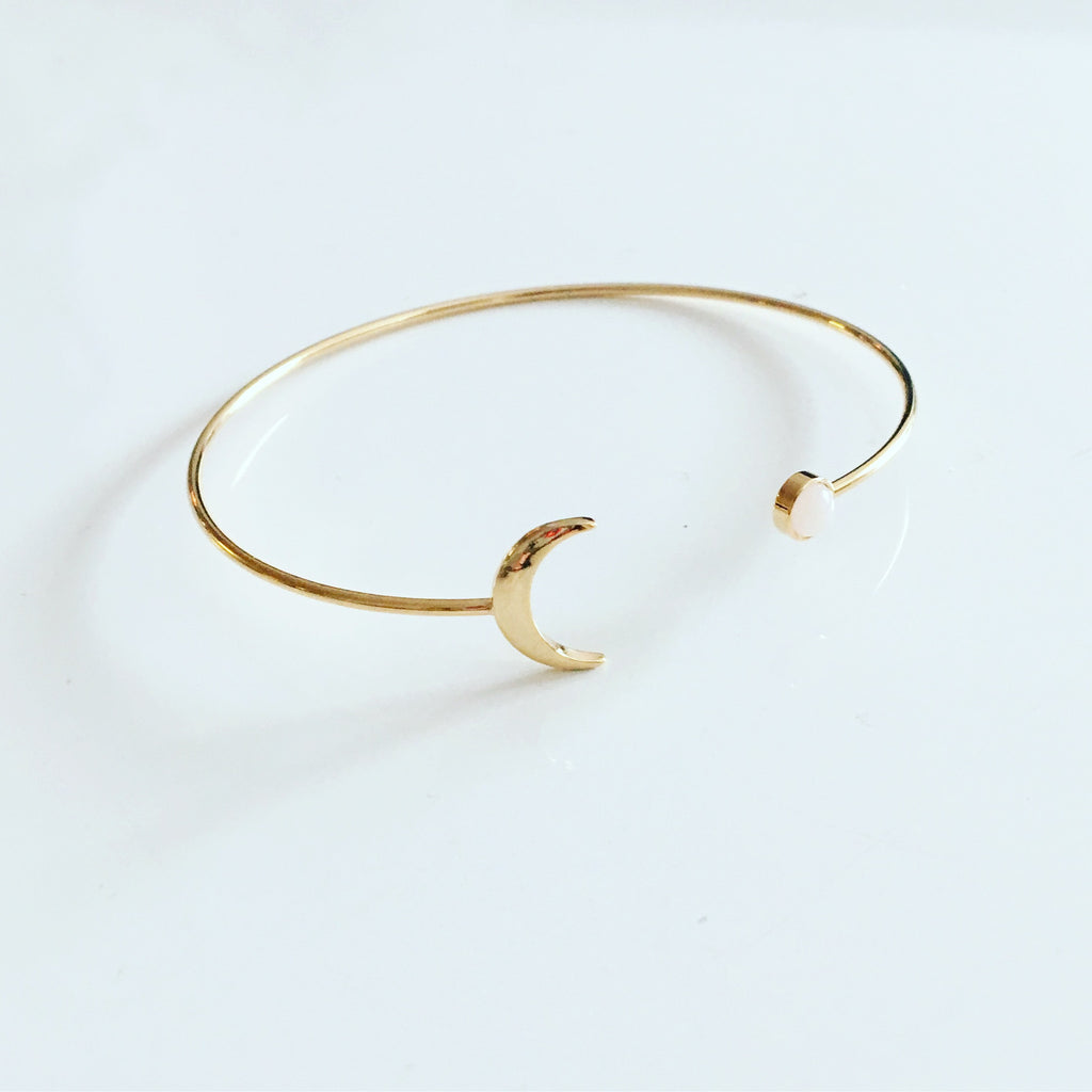 Cresent Moon & One Dot Bangle