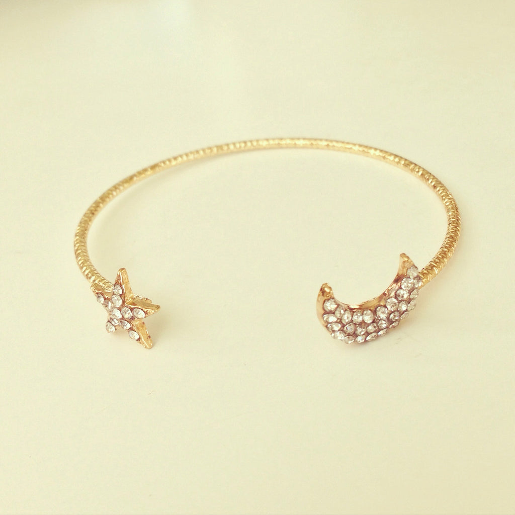 Pave Crescent Moon & Star Bangle