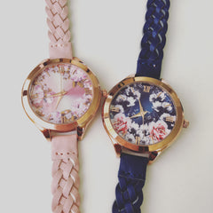 Glam Floral Thin Strap Watch