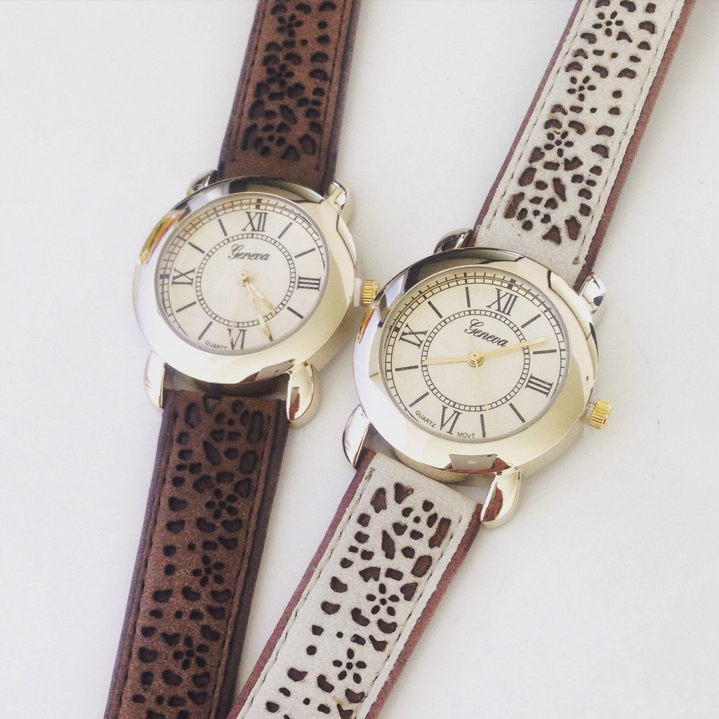 Suede Strap Watch