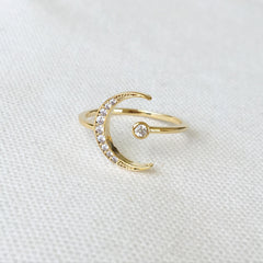 Open Crescent Moon Ring