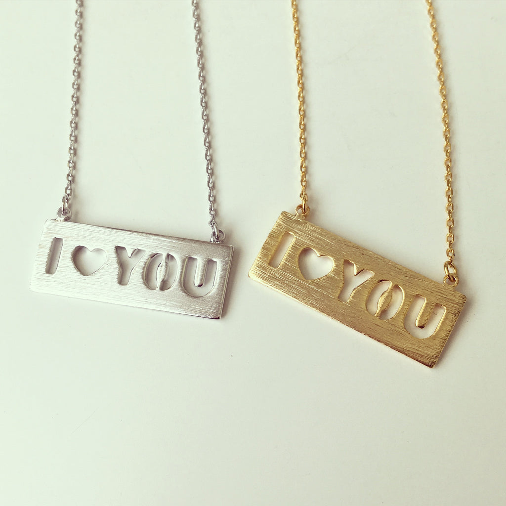 I Love You Cutout Necklace