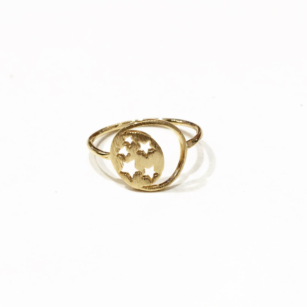 Star And Moon Cutout Ring