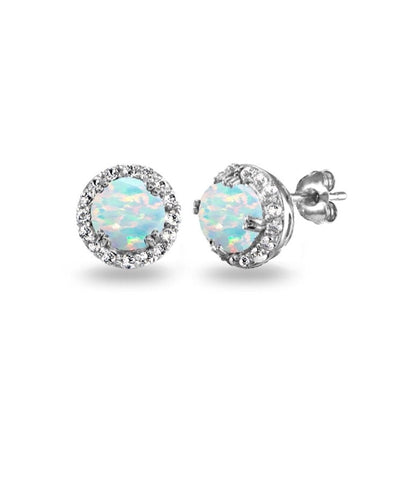 Opal Stone Diamond Earrings