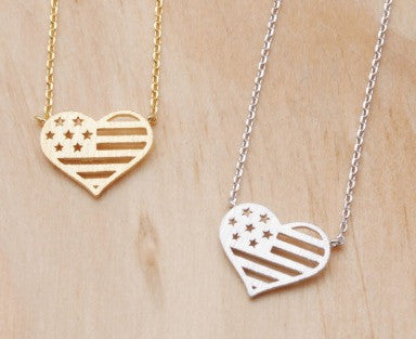 Heart American Flag Necklace